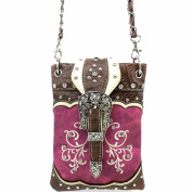 Justin West Western Buckle Embroidered Flower Rhinestone CrossBody Mini Handbag Phone Messenger Purse