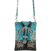 Justin West Western Embroidered Weaved Tooled Buckle CrossBody Mini Handbag Phone Messenger Purse