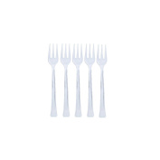 Exquisite Clear Plastic Mini Forks, Premium Quality Disposable Tasting Forks, Heavy Duty Plastic Dessert Forks - 96 Count