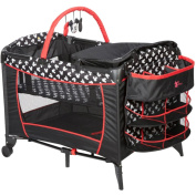 Mickey Mouse Bassinet Baby Play Yards Infant Crib With Breathable Mesh, Nappy Changer, Organiser And 2 Wheels For Easy Mobility