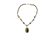 Chunky Tiger Eye Beads Pendent Necklace- Twisted Beads Stones Handmade Necklaces