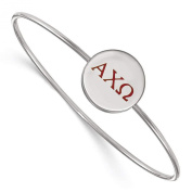 925 Sterling Silver Rhodium-plated Alpha Chi Omega Sorority Enamelled Slip-on Bangle Bracelet 18cm