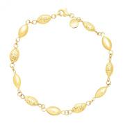 Just Gold Alternating Station Bead Link Bracelet in 14K Gold