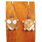 Sterling Silver Mother of Pearl Shell Turtle Dangle Earring Bali Bay Trading Co