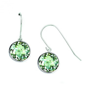 18K Gold and Sterling Silver Green Amethyst Dangle Gemstone Earrings