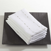 Fennco Styles Silver Embroidered Dinner Napkins, Set of 4