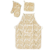 Matzah Patterned Passover Holiday Apron, Potholder and Oven Mitt Set