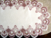 Mauve Rose Lace Dresser Scarf Table Runner Pink 110cm Doily