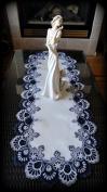 Blue White Lace 110cm Dresser Scarf Table Runner Doily Navy