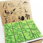 Np Crafts 12 Kids Dinosaur Rubber Stamps Set