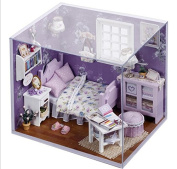 DollHouse 2015NEW DIY Miniature Model Kit Wooden Doll House,Small Size House Toy With Furnitures