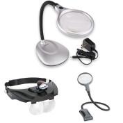 Carson DeskBrite LED Lighted Magnifying Lamp w/ MagniVision Head Visor Magnifier & BoaMag Flexible Magnifier
