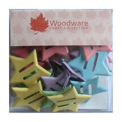 Pack of 20 Ribbon Brads, Stars - Pastel, approx. 2cm, with 2 slots to thread ribbon through Woodware Craft Collection