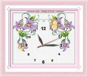 AngelGift Monalisa Digital Clock Pattern Stamped Cross Stitch- Flowers and Butterflies