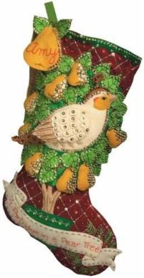 46cm Long Stocking Felt Applique Kit: Partridge In A Pear Tree