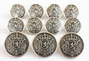 YCEE Premium New 11 Pieces Silver Metal Blazer Button Set - Heraldic Lion - For Blazer, Suits, Sport Coat, Uniform, Jacket