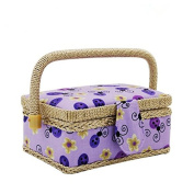 Classic Floral Print Fabric Sewing Basket Home Storage Box with 84 Pcs Sewing Kit Accessories