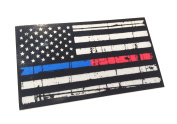 Tattered Reflective 9.5cm x 6.6cm Decal Red and Blue Line United States Flag Tactical Firefighter Emt Paramedics 3m Sticker