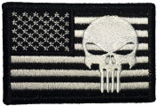 Tactical USA Flag with Punisher Patch 5.1cm x 7.6cm hook and loop Backing - Black - By Ranger Return