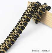 10yd Braid Beaded Pearls Black Gold Trimming Embellishment Lace Ribbon Trim Applique Sewing Supplies for Craft Cloth T1223