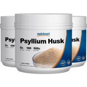 Nutricost Psyllium Husk Powder 500G (3 Bottles), 5g Per Serving