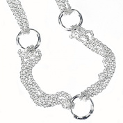 Sterling Silver 925 Multi Strand Rolo Chain Circle Womens Necklace 41cm - The Royal Gift