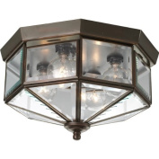 Progress Lighting P5789-20 Octagonal Close-To-Ceiling Fixture with Clear Bound Bevelled Glass, Antique Bronze by Progress Lighting
