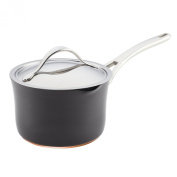Anolon 83527 Nouvelle Copper Hard Anodized Nonstick Covered Straining Saucepan, 3.3l
