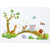 Tandi Kids Child Nurseries Baby Room Wall Decals Stickers Flowers Wild Animals Jungles (Wild Animals, 140(W)X90