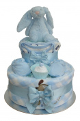 Bashful Bunny Two Tier Blue Gingham Nappy Cake