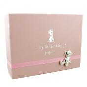 Baby Girl's 1st Birthday Gift Keepsake Box With Teddy