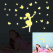 ufengke Cartoon Fairy Flying Butterfly Wall Decals Fluorescence Stickers Glow In The Dark, Children's Room Nursery Removable Wall Stickers Murals