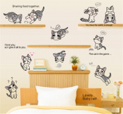 ufengke Japanese Animation Cute Cats Wall Decals, Children's Room Nursery Removable Wall Stickers Murals