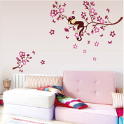 ufengke Lovely Sleeping Pink Monkey Peach Branches Wall Decals, Children's Room Nursery Removable Wall Stickers Murals