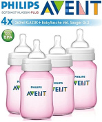 4 x PHILIPS AVENT Classic 260ml/9oz Baby Feeding Bottles PINK - Anti-Colic, Wide Neck and ergonomic shape + BPA FREE