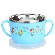 Water heating and stainless steel bowl bowl stamped Children's tableware,blue
