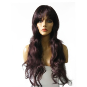 Namecute Prefect Long Curly Wavy 60cm Light Black Wigs Synthetic Fibre for Ladys