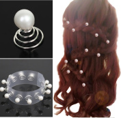 Charites Bridal Wedding Prom Pearl Hair Pins Swirls Spirals Twists Coils Pack 12PCS Pack
