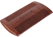 Beard and Moustache Comb - Fine Tooth Pocket Comb for Hair - Anti-Static Handmade Red Sandalwood Comb - Free Faux Leather Carrying Pouch + Premium Giftbox