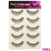 Vivi's Collection 5 Pairs V001 Natural Eyelashes Black False Eye Lashes