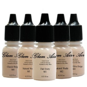 Glamair Airbrush Water-Based Foundation In Set Of 5 Assorted Light Matte Shades