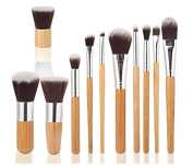 Tinabless 11pcs Makeup Brushes Set - Bamboo Handles Eco-friendly Makeup Brush Kit - Natural Make Up Brush Set - Vegan Beauty Cosmetics Tools - Soft Bristles Make Up Brushes with Makeup Brushes Pouch - Professional Concealer Eyeshadow Contour Lip Eyebro ..