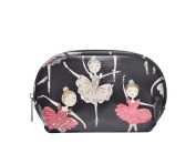 Small Black Ballerina Print Makeup Bag Cosmetic Case Pouch