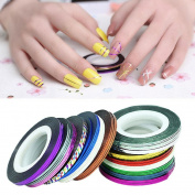 Oyedens 32Pcs Mixed Colours Nail Rolls Striping Tape Line DIY Nail Art Tips Decoration Sticker Nails Care