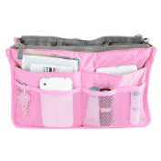 Hee Grand Women's Handbag Organiser Liner Tidy Travel Cosmetic Pocket Insert 12 Pockets Large Pink