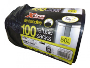 Roll of 100 X-Tra Extra Strong Tie Handle GB Made Black Refuse Sack Bin Liner Bags 50L - Drawstring