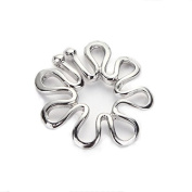 RichBest 1 Pair 316L Stainless Steel Non Piercing Clip On Flower Designing Nipple Ring 10mm