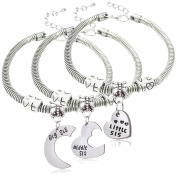 3pcs Big Sis Middle Sis Little Sis Love Heart Charm Pendant Bracelet Set Family Jewellery Gift for Sister