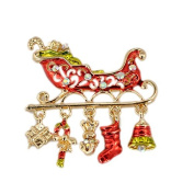 RichBest Exquisite Colour Christmas Sleigh Rhinestone Corsage Gold Brooch Pins Scarf Buckle Brooches