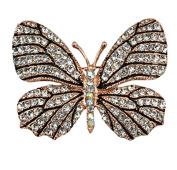 RichBest Vintage Style Butterfly Flower Brooch Pin Pendant Purple Austrian Crystal for Women